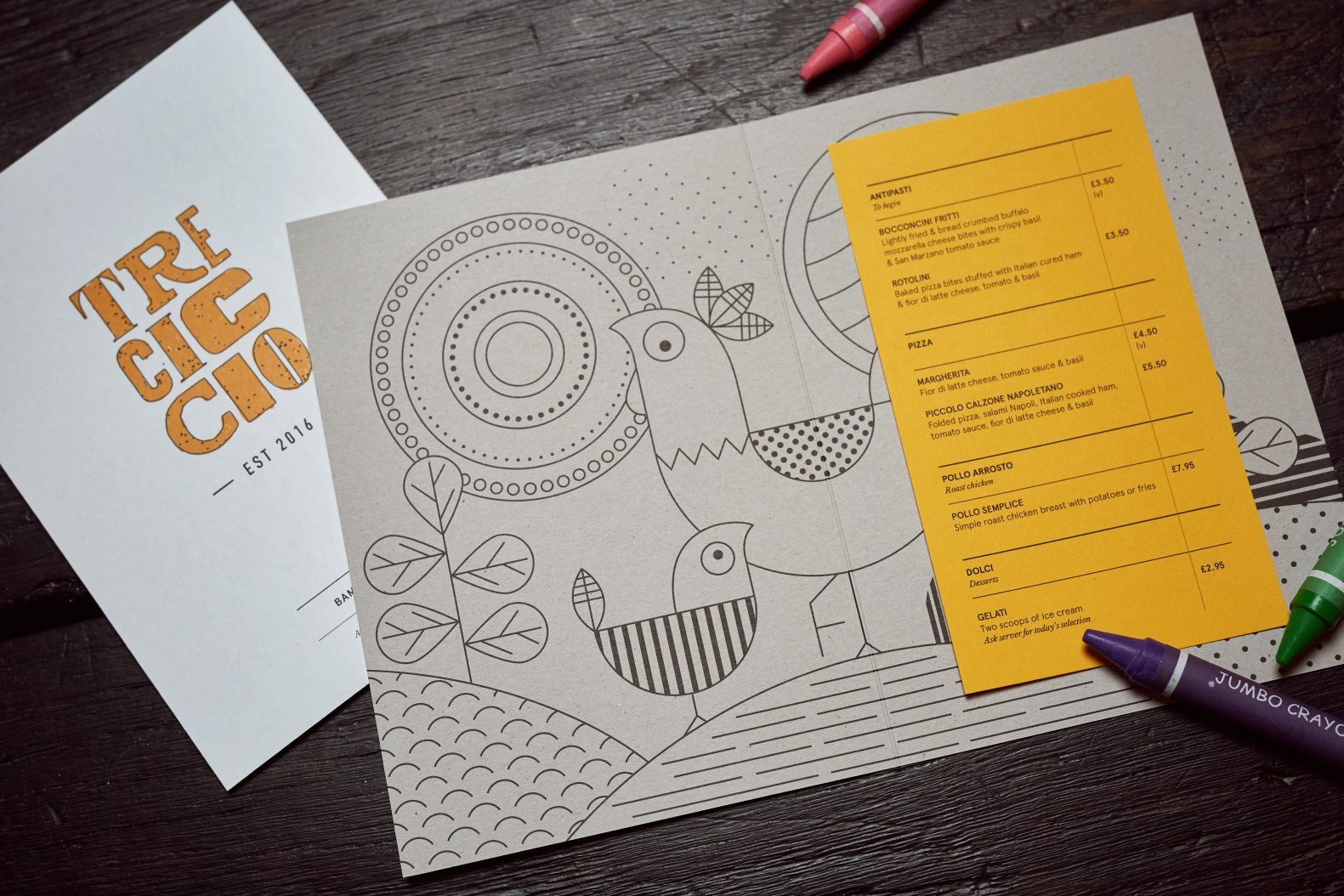 Tre Ciccio Menu Branding and Illustration