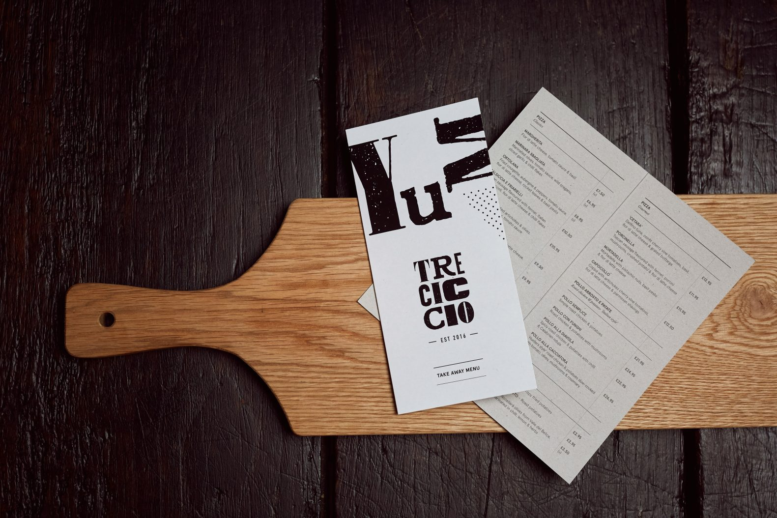 Tre Ciccio Menu Card Design by Phaus